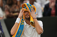 6th July 2021, Wimbledon, SW London, England; 2021 Wimbledon Championships, day 8;  Daniil Medvedev of Russia reacts during the mens singles fourth round match against Hubert Hurkacz of Poland