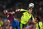 Football Season 2009-2010. Barcelona's player Seydou Keita (L) is challanged against Zaragoza's  Pavon (R) during their Spanish first division soccer match at Camp Nou stadium in Barcelona October 25, 2009