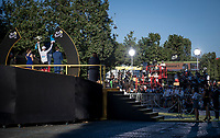 Tadej Pogacar (SVN/UAE-Emirates) during the white jersey / best young rider ceremony<br /> <br /> Stage 21 (Final) from Chatou to Paris - Champs-Élysées (108km)<br /> 108th Tour de France 2021 (2.UWT)<br /> <br /> ©kramon