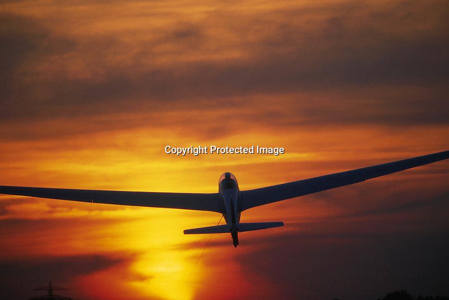 Segelflug, Start, Sonnenuntergang, Luftsport, Boberg