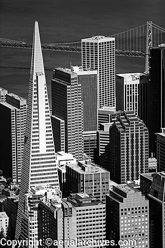 aerial photograph Transamerica Pyramid, Embarcadero West, 275 Battery Street, Spear Street Tower, Embarcadero Center, One California Street skyscrapers San Francisco