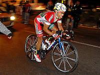 COLOMBIA. 16-08-2014. Jose Flober Peña ciclista durante la contrarreloj individual nocturna de 17.5 Km en la penúltima etapa de la Vuelta a Colombia 2014 en bicicleta que se cumple entre el 6 y el 17 de agosto de 2014. / Jose Flober Peña cyclist during the night individual time trial of 17.5 Km in the penultimate stage of the Tour of Colombia 2014 in bike holds between 6 and 17 of August 2014. Photo:  VizzorImage/ José Miguel Palencia / Str