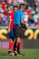 Orlando, Florida - Saturday, June 04, 2016: Patricio Loustau (referee) collects the ball at half-time during a Group A Copa America Centenario match between Costa Rica and Paraguay at Camping World Stadium.
