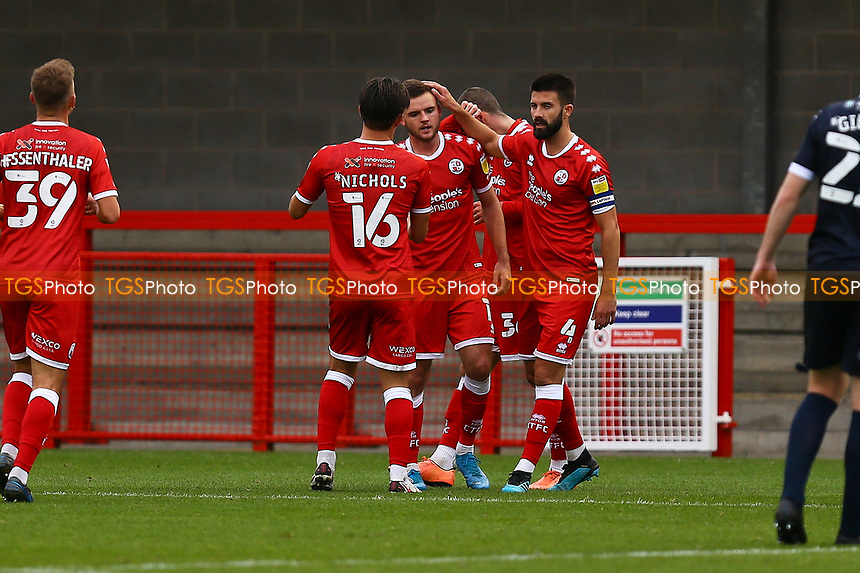 Tyler Frost (centre) of Crawley Town celebrates his goal in the second half and 4th for his team during Crawley Town vs Morecambe, Sky Bet EFL League 2 Football at Broadfield Stadium on 17th October 2020