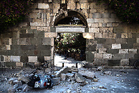 Pictured: Part of the ancient walls in the old town has suffered severe damage in Kos town, Greece.<br /> Re: A 6.4 Richter Scale earthquake has hit the tourist island of Kos in Greece.