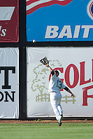 Winston-Salem's Chris Amador (13) goes a long way to make this catch in left center field versus the Frederick Keys at Ernie Shore Field in Winston-Salem, NC, Thursday, June 15, 2006.  Winston-Salem defeated Frederick 1-0 in game 1 of a double-header.