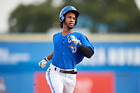 Dunedin Blue Jays second baseman Ivan Castillo (1) runs the bases during a game against the Jupiter Hammerheads on August 14, 2018 at Dunedin Stadium in Dunedin, Florida.  Jupiter defeated Dunedin 5-4 in 10 innings.  (Mike Janes/Four Seam Images)