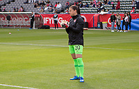 CARSON, CA - FEBRUARY 9: GK Sabrina D'Angelo #20 of Canada warming up during a game between Canada and USWNT at Dignity Health Sports Park on February 9, 2020 in Carson, California.