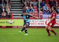 Sam Wood of Wycombe Wanderers with a long range effort during the Sky Bet League 2 match between Crawley Town and Wycombe Wanderers at Checkatrade.com Stadium, Crawley, England on 29 August 2015. Photo by Liam McAvoy.