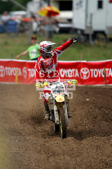 Ricky Carmichael (4) finishes a race at the Unadilla Valley Sports Center in New Berlin, New York on July 16, 2006, during the AMA Toyota Motocross Championship.