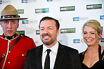 BANFF, AB, CANADA - JUNE 15:  Actor Ricky Gervais, second left, with partner Jane Fallon on the red carpet before the 2010 Banff World Television awards on June 15, 2010 at the Banff Springs Hotel in Banff, Alberta, Canada. Photo by Jimmy Jeong *** Local Caption *** Ricky Gervais