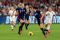 ORLANDO, FL - MARCH 05: Sam Mewis #3 of the United States dribbles during a game between England and USWNT at Exploria Stadium on March 05, 2020 in Orlando, Florida.