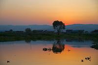 Sunset over Inle lake, Shan State, Myanmar/Burma