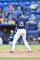 Asheville Tourists catcher Nic Motley (15) awaits a pitch during game two of a double header against the Columbia Fireflies at McCormick Field on August 4, 2018 in Asheville, North Carolina. The Tourists defeated the Fireflies 8-0. (Tony Farlow/Four Seam Images)