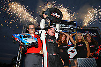 Sep 2, 2017; Clermont, IN, USA; NHRA top fuel driver Steve Torrence celebrates after winning the Traxxas Shootout specialty race during qualifying for the US Nationals at Lucas Oil Raceway. Mandatory Credit: Mark J. Rebilas-USA TODAY Sports