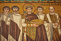 Mosaic depicting Emperor Justinian I. Byzantine Roman mosaics of the Basilica of San Vitale in Ravenna, Italy. Mosaic decoration paid for by Emperor Justinian I in 547. A UNESCO World Heritage Site