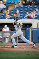 Clinton LumberKings catcher Ryan Scott (29) follows through on a swing during a game against the West Michigan Whitecaps on May 3, 2017 at Fifth Third Ballpark in Comstock Park, Michigan.  West Michigan defeated Clinton 3-2.  (Mike Janes/Four Seam Images)