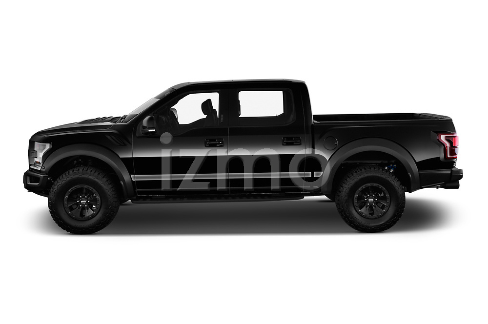 Car driver side profile view of a 2018 Ford F-150 Raptor 4 Door Pick Up