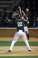 Will Craig (22) of the Wake Forest Demon Deacons at bat against the Delaware Blue Hens at Wake Forest Baseball Park on February 13, 2015 in Winston-Salem, North Carolina.  The Demon Deacons defeated the Blue Hens 3-2.  (Brian Westerholt/Four Seam Images)