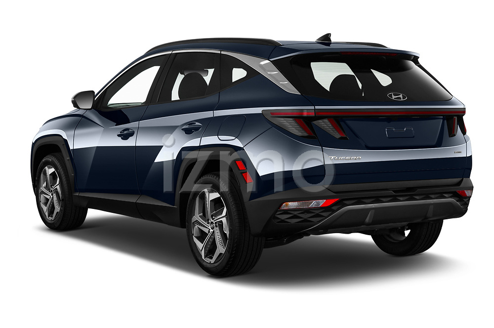 Car pictures of rear three quarter view of 2022 Hyundai Tucson Limited 5 Door SUV Angular Rear