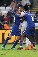 A brawl breaks out between Jordan Ayew of Swansea City (R) and Chelsea players during the Premier League game between Swansea City v Chelsea at the Liberty Stadium, Swansea, Wales, UK. Saturday 28 April 2018