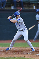 Burlington Royals Jake Means (9) bats during a game with the Bristol Pirates at Boyce Cox Field on June 19, 2019 in Bristol, Virginia. The Royals defeated the Pirates 1-0. (Tracy Proffitt/Four Seam Images)