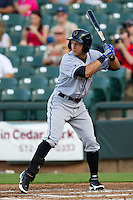 Omaha Storm Chasers outfielder David Lough #3 at bat during the Pacific Coast League baseball game against the Round Rock Express on July 20, 2012 at the Dell Diamond in Round Rock, Texas. The Chasers defeated the Express 10-4. (Andrew Woolley/Four Seam Images).