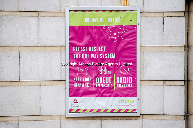 Pictured: A coronavirus notice outside Queen's Arcade in Cardiff, Wales, UK. Friday 8th January 2021<br /> Re: The whole of Wales in in Tier 4 due to rising Covid-19 Coronavirus cases, Cardiff, Wales, UK.