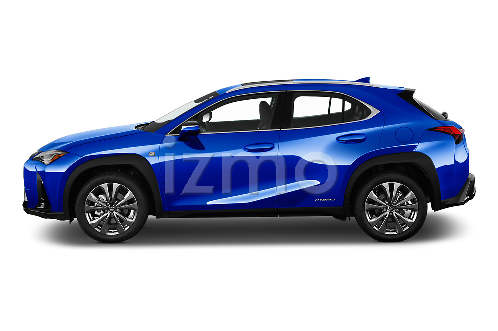 Car driver side profile view of a 2019 Lexus UX 250h-F-SPORT 5 Door SUV
