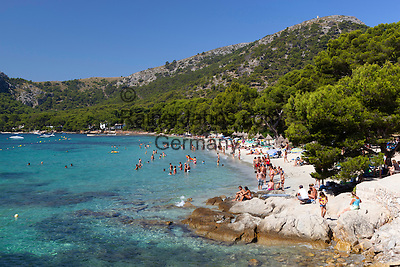 Spain, Mallorca, near Port de Pollenca: Platja (Playa) Formentor   Spanien, Mallorca, bei Port de Pollenca (Puerto Pollensa): Platja (Playa) Formentor