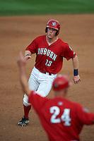 Auburn Doubledays catcher Erik VanMeetren (13) running the bases during a game against the Batavia Muckdogs on September 7, 2015 at Falcon Park in Auburn, New York.  Auburn defeated Batavia 11-10 in ten innings.  (Mike Janes/Four Seam Images)