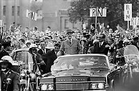July 1967 FILE -<br /> <br /> Triumphant ride by Le Grand Homme, French President Charles de Gaulle (left) through cheering crowds by the side of Premier Daniel Johnson has left a permanent impression behind in Quebec. Main impact has been an explosion of pride in speaking French and being part of the emergence of a strong Quebec with international identity. <br /> <br /> PHOTO :  Jeff Goode - Toronto Star Archives - AQP