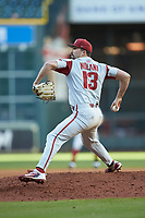Arkansas Razorbacks starting pitcher Connor Noland (13) in action against the Oklahoma Sooners in game two of the 2020 Shriners Hospitals for Children College Classic at Minute Maid Park on February 28, 2020 in Houston, Texas. The Sooners defeated the Razorbacks 6-3. (Brian Westerholt/Four Seam Images)