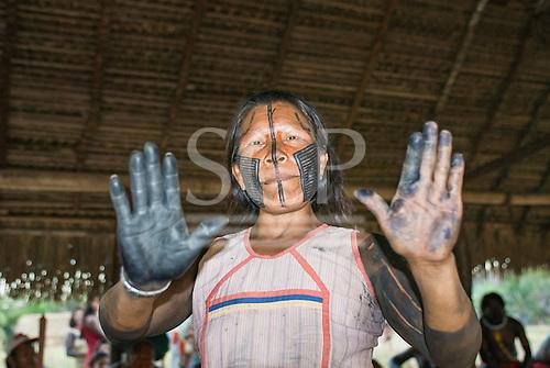"Pará State, Brazil. Aldeia Moikarako. Poynkara Kayapo. Please ""Stop them destroying us""."