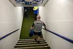 Tranmere Rovers 2  Port Vale 0, 20/03/2019. Prenton Park, League One. Club physiotherapist Les Parry walking down the steps onto the pitch at Prenton Park, home of Tranmere Rovers FC, as his team are about to kick-off against Port Vale in a English League One fixture. Les Parry has been the club physiotherapist since 1993 and recently completed 800 games with the club. At the time he was also working on completing his PhD at Liverpool John Moores University. Photo by Colin McPherson.