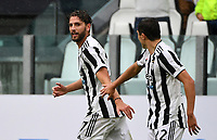 Calcio, Serie A: Juventus vs Sampdoria Allianz stadium, Turin, September 26, 2021.<br /> Juventus' Manuel Locatelli (R) celebrates with his teammate Federico Chiesa (L) during the Italian Serie A football match between Juventus and Sampdoria  at Allianz stadium, Turin, on September 26, 2021.<br /> UPDATE IMAGES PRESS/Isabella  Bonotto