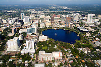 Aerial of Orlando skyline and Lake Eola, Florida, FL