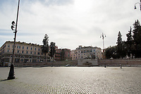 """Piazza del Popolo.<br /> <br /> Rome, 12/03/2020. Documenting Rome under the Italian Government lockdown for the Outbreak of the Coronavirus (SARS-CoV-2 - COVID-19) in Italy. On the evening of the 11 March 2020, the Italian Prime Minister, Giuseppe Conte, signed the March 11th Decree Law """"Step 4 Consolidation of 1 single Protection Zone for the entire national territory"""" (1.). The further urgent measures were taken """"in order to counter and contain the spread of the COVID-19 virus"""" on the same day when the WHO (World Health Organization, OMS in Italian) declared the coronavirus COVID-19 as a pandemic (2.).<br /> ISTAT (Italian Institute of Statistics) estimates that in Italy there are 50,724 homeless people. In Rome, around 20,000 people in fragile condition have asked for support. Moreover, there are 40,000 people who live in a state of housing emergency in Rome's municipality.<br /> March 11th Decree Law (1.): «[…] Retail commercial activities are suspended, with the exception of the food and basic necessities activities […] Newsagents, tobacconists, pharmacies and parapharmacies remain open. In any case, the interpersonal safety distance of one meter must be guaranteed. The activities of catering services (including bars, pubs, restaurants, ice cream shops, patisseries) are suspended […] Banking, financial and insurance services as well as the agricultural, livestock and agri-food processing sector, including the supply chains that supply goods and services, are guaranteed, […] The President of the Region can arrange the programming of the service provided by local public transport companies […]».<br /> Updates: on the 12.03.20 (6:00PM) in Italy there 14.955 positive cases; 1,439 patients have recovered; 1,266 died.<br /> <br /> Footnotes & Links:<br /> Info about COVID-19 in Italy: http://bit.do/fzRVu (ITA) - http://bit.do/fzRV5 (ENG)<br /> 1. March 11th Decree Law http://bit.do/fzREX (ITA) - http://bit.do/fzRFz (ENG)<br /> 2. http://bit.do/fzRKm"""