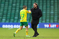 9th January 2021; Carrow Road, Norwich, Norfolk, England, English FA Cup Football, Norwich versus Coventry City; Emi Buendia of Norwich City celebrates the 2-0 win with Norwich City Manager Daniel Farke