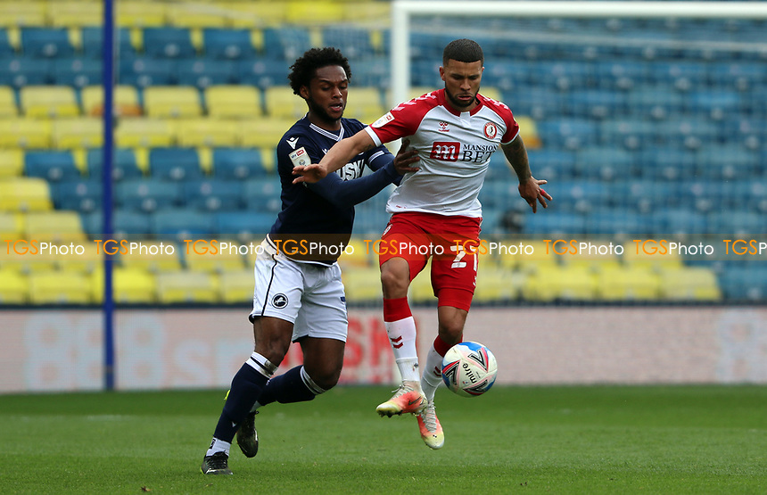 Mahlon Romeo of Millwall pressuring Nahki Wells of Bristol City during Millwall vs Bristol City, Sky Bet EFL Championship Football at The Den on 1st May 2021