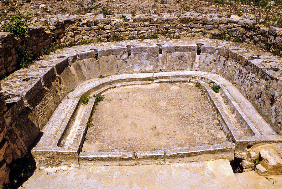 Tunisia, Dougga.  Roman Ruins.  Twelve Latrines in a Semi-Circle.