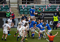 13th February 2021; Twickenham, London, England; International Rugby, Six Nations, England versus Italy; David Sisi of Italy wins a line out
