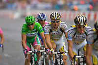 Professional cyclist Kanstantsin Sivtsov leads the HTC Columbia professional cycling team on the Champs Elysees in Paris, France, during the 2010 Tour de France