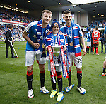 Rangers mascot Lee Welsh with Andy Halliday and Jason Holt