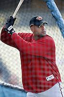 Tony Clark of the Arizona Diamondbacks during batting practice before a game from the 2007 season at Dodger Stadium in Los Angeles, California. (Larry Goren/Four Seam Images)