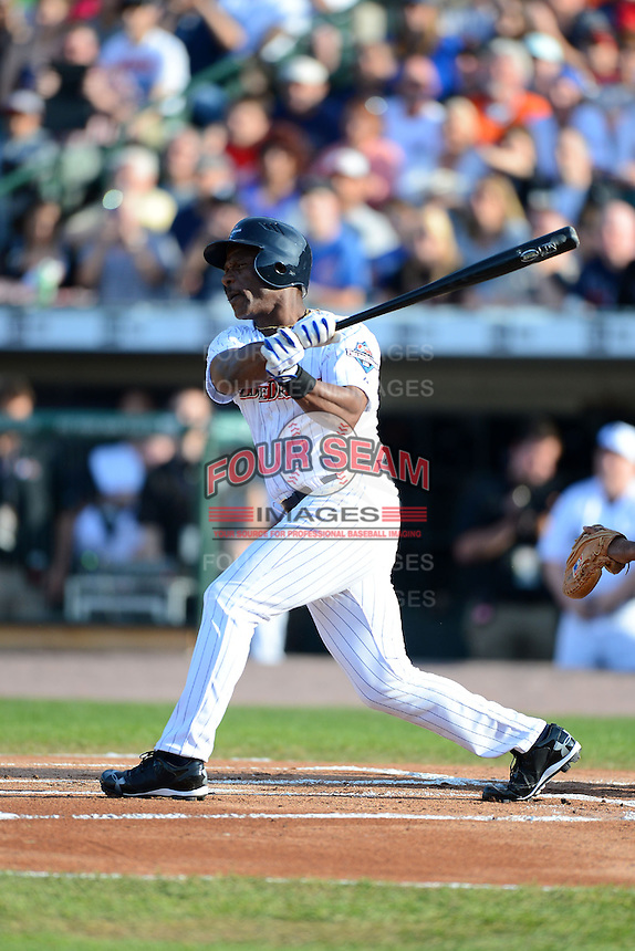 Hall of Fame outfielder Rickey Henderson #24 at bat during the MLB Pepsi Max Field of Dreams game on May 18, 2013 at Frontier Field in Rochester, New York.  (Mike Janes/Four Seam Images)