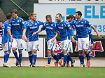 St Johnstone v Motherwell...22.08.15  SPFL   McDiarmid Park, Perth<br /> Steven MacLean celebrates his second goal<br /> Picture by Graeme Hart.<br /> Copyright Perthshire Picture Agency<br /> Tel: 01738 623350  Mobile: 07990 594431