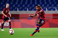 SAITAMA, JAPAN - JULY 24: Catarina Macario #19 of the United States passes the ball during a game between New Zealand and USWNT at Saitama Stadium on July 24, 2021 in Saitama, Japan.