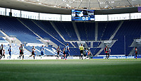 16th May 2020, Rhein-Neckar-Arena, Hoffenheim, Germany; Bundesliga football,1899 Hoffenheim versus Hertha Berlin;  Empty stands in the PreZero Arena