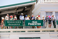 1st May 2021; Kentucky, USA;  Fans line up above the paddock to watch the horses during the 147th running of the Kentucky Derby on May 01st, 2021 at Churchill Downs in Louisville,  Kentucky, USA.